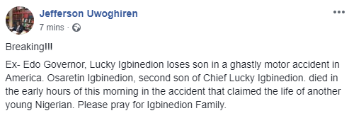 Former Edo state governor, Lucky Igbinedion's son dies in